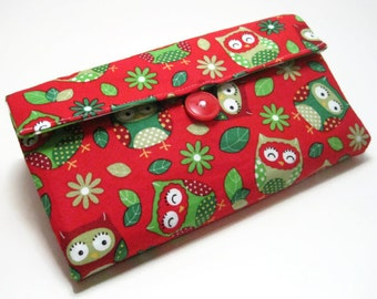 Cash Envelope Wallet | Cash Budget Wallet | Money Envelope System - Christmas Owls- Women's Wallet