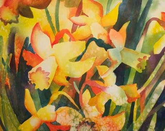 "original watercolor painting, still life, daffodills, flowers, colorful, soft, bright, decorative, 15x22"""