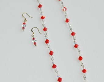 Swarovsky Crystal Necklace and Earrings Set