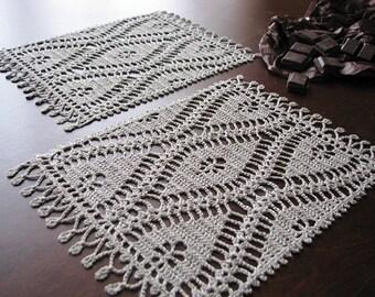 Linen crocheted doilies set of 2 -handmade napkins- table serving- natural color linen yarn