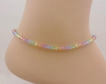 Ankle Bracelet, Rainbow Anklet, Swarovski Crystal Ankle Bracelet,Light Pastel Rainbow Ankle Bracelet