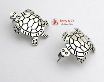 Vintage Turtle Earrings Sterling Silver
