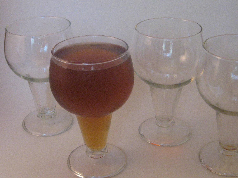 vintage beer glasses hollow stem set of 4 craft beer mid. Black Bedroom Furniture Sets. Home Design Ideas