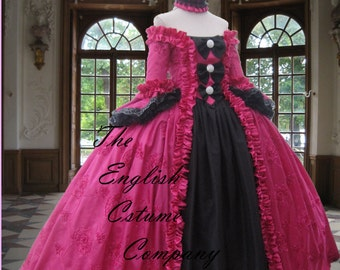 The new off the shoulder Georgian dress Colonial Rococo Marie Antoinette Evening Gown in vivid pink Taped Taffeta.