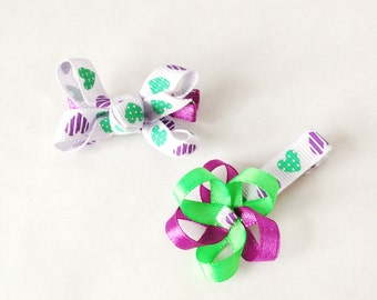 baby hair clips x2, bow and flower hair clips, matching set of 2, baby bow, non slip baby clips