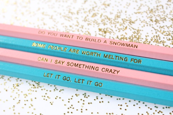 Stocking Stuffer - Quotes from Frozen, Set of 4 Pencils, Gold Foil Pencils, Pencils, Engraved Pencils, Quote Pencils, Disney's Frozen