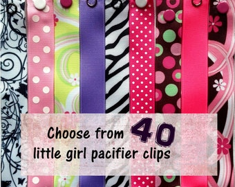 Pacifier Clips for Baby Girl, girl pacifier clips - choose 5 - Nuk, Soothie, Mam
