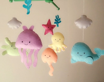 """Baby crib mobile, sea animal mobile, ocean mobile """"Under the Sea"""" - Jellyfish, Octopus,Whale, Ray, Crab, Starfish"""