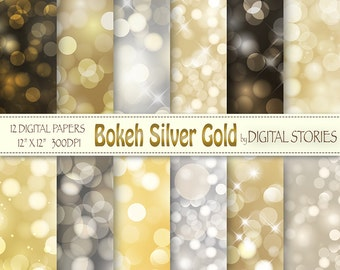 "Bokeh Digital Paper: ""BOKEH GOLD SILVER"" Scrapbook papers, gold silver bokeh overlays for invites, photograph backgrounds"