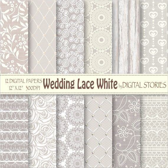 Wedding Lace Digital Paper: WEDDING LACE WHITE