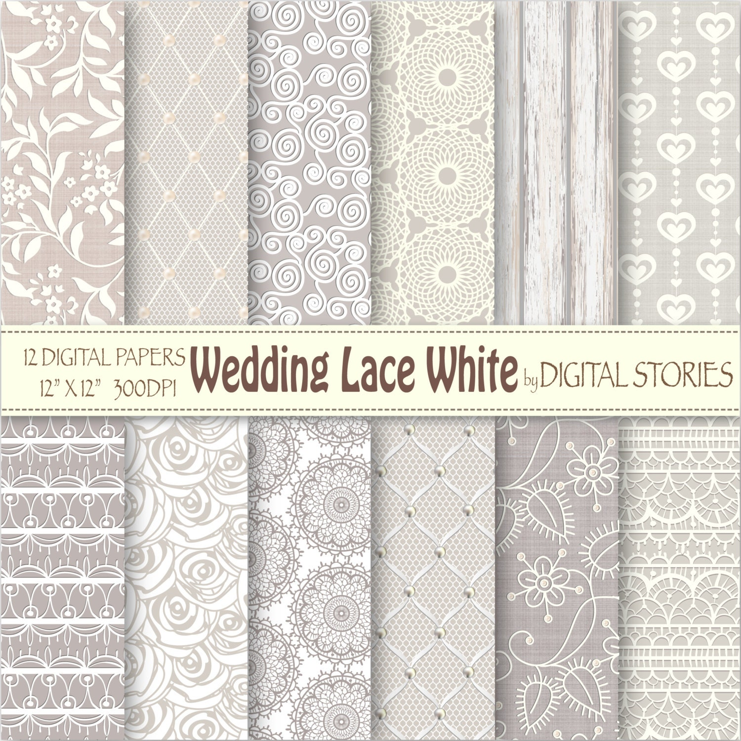 Wedding Paper: Wedding Lace Digital Paper: WEDDING LACE WHITE By