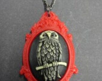 Owl Cameo Red Frame