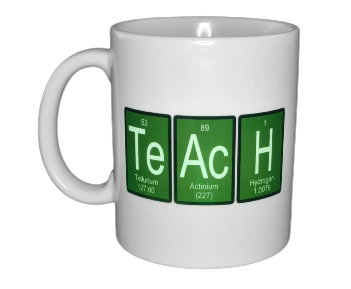 Green Teach Mug Periodic Table Of Elements Funny White
