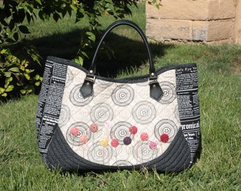 Newspaper tote bag(Handmade, quilted Bag)
