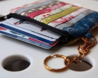 Key ring with small purse, (stripe)Handmade