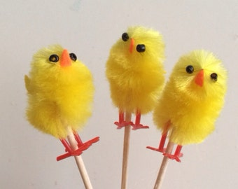 Chicken cupcake toppers, easter food picks, chick cupcake toppers, easter cupcake toppers, cupcake toppers, chick food picks,