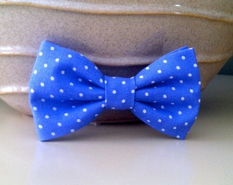 Dog Bow Tie-Periwinkle with white polka dot