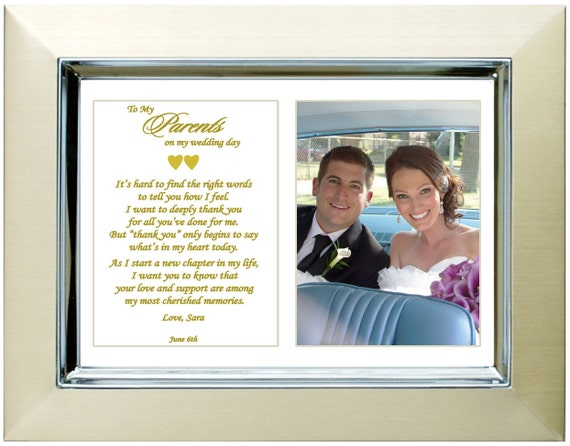 Personalised Wedding Gifts For Parents : Personalized Wedding Gift for Parents of Bride or Groom - Poem Frame ...