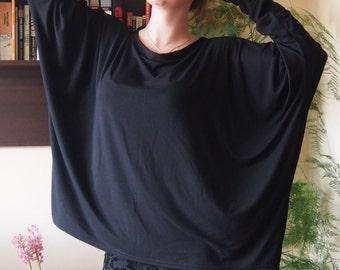 Over-sized Long Sleeve Blouse Jersey Tunic Elegant Top & Nara TT017