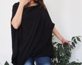 Asymmetric Over-Sized Dress Short Sleeve Jersey Tunic Loose Tunic Top & Nara DT017