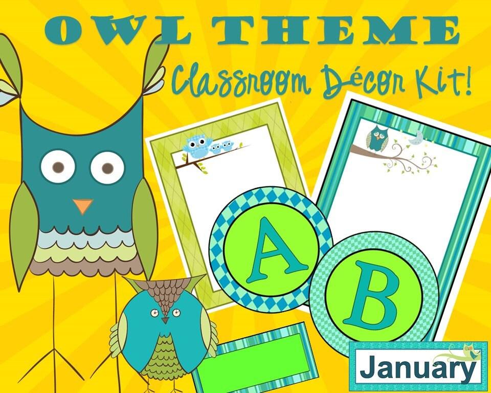 Classroom Decor Kit : Owl theme decor kit classroom homeschool fun things for