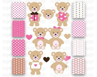 Cute Bear Clipart, Valentine's Day, Heart Clipart, Pink Bear Clipart, Digital Papers, Digital Backgrounds, Illustration, Cute Bear Graphic