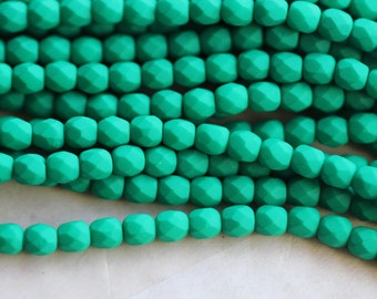 50 Neon Emerald, 3mm Faceted Round Czech Glass Fire Polished Beads (FP-3M-7)