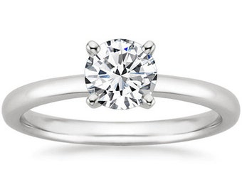 Solitaire Engagement Ring 14k White Gold With A 7MM Round Natural White Sapphire