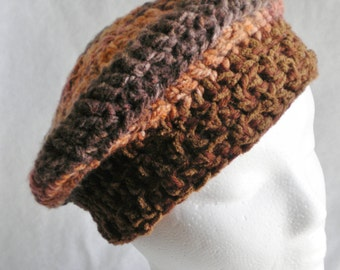 Hand crocheted  beret, brown stripes