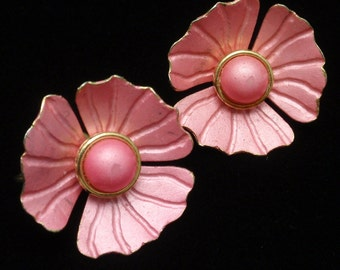 Pink Flower Earrings Vintage