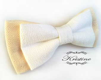 White and Cream Bow Tie - Handmade Bow Tie - Pre Tied Bow Tie - mens lace bow tie groom wedding