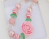 Pink Rose Chunky Necklace, Pink Rose gumball necklace, Pink Rose necklace, Girls Rose necklace, Gumball Necklace