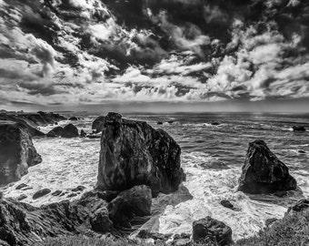 Black and White Photograph of California's Seaside Ruggid Coastline - Fine Art Black and White Print of California Coast and Cliffs