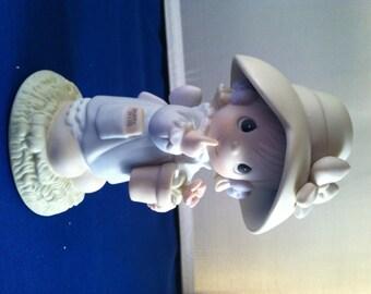 Happy Birthday Poppy, Precious Moments Figurine, Girl holding poppy pot