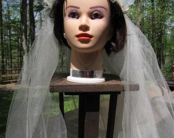 SALE - SALE -Handmade Vintage Looking Ivory Bridal Veil with ribbons