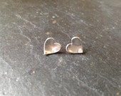 Fine silver cupped heart studs