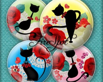 Colourful Cartoon Black Cat - Digital Collage Sheet,1.5 inch,1.25 inch,30mm,1 inch,25mm Charms.Animal,Jewelry.Scrapbooking.Glass Pendants