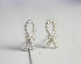 Sterling silver knot earrings, silver earrings, rope earrings, statement earrings, earrings, jewelry, summer, gift, holiday, women, stud