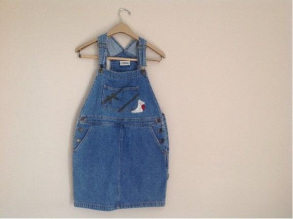 vintage bib overalls skirt denim bib by intheliteofthemoon