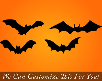 Bats flying set of 4 vinyl decals for halloween decor 2197