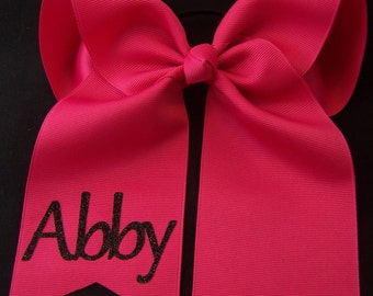 Cheer Bow with Glitter Name Personalized Cheer Bow Custom Cheer Bow