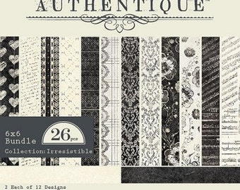 """AUTHENTIQUE Irrisistible Collection, 6"""" X 6"""" bundle, paper pad, 24 sheets, scrapbooking and paper crafts"""