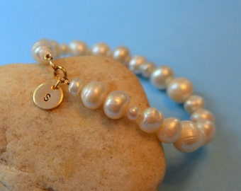 Bridesmaids Pearl Bracelet with Gold Filled Initial Charm