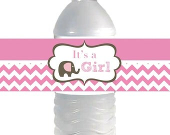 INSTANT DOWNLOAD Elephant Pink Brown Chevron Water Bottle Labels It's a Girl Baby Shower Party Supplies Printable Water Bottle Labels - 005