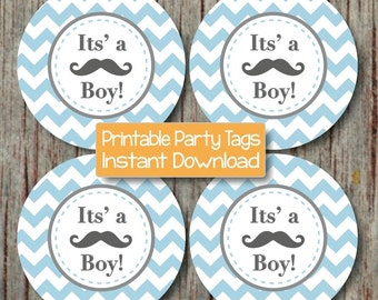Mustache Bash Baby Shower Its a Boy! Little Man Cupcake Toppers Printable Party DIY Favor Tags Boy Powder Blue Grey Chevron Digital - 060