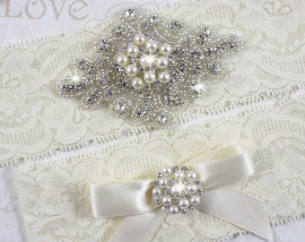 SALE - SAHARA - Pearl Wedding Garters, Stretch Lace Garter, Rhinestone Crystal Bridal Garter Set