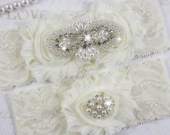 KARENA - Chiffon Roses Bridal Garter Set, Wedding Stretch Lace Garter, Pearl Rhinestone Bridal Garters