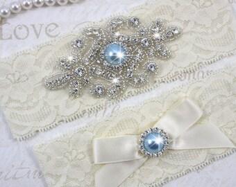 SALE - RACHEL - Light Blue Pearl Wedding Garter Set, Wedding Stretch Lace Garter, Rhinestone Crystal Bridal Garters