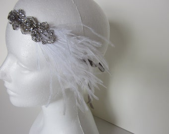 Flapper Wedding dress headpiece, fascinator feather headband Bandeau Cheveux Serre-Tete Mariage Gatsby Argent