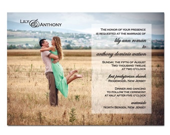 Photo Wedding Invitation DIY PRINTABLE Digital File or Print (extra)